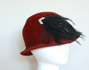 Rust and Rhinestone Feathered Cloche Hat