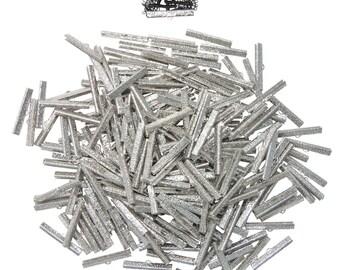 500 pcs.  40mm  ( 1 9/16 inch ) Platinum Silver Ribbon Clamp End Crimps - Artisan Series