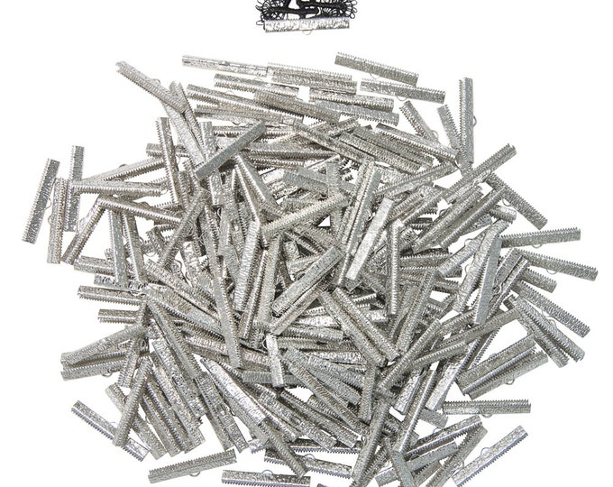 500 pcs.  40mm  ( 1 9/16 inch ) Platinum Silver Ribbon Clamp End Crimps - Artisan Series