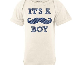 Baby Gender Reveal It's a Boy Bodysuit Boy's One Piece Outfit Mustache Funny Baby Shower Gift Fun Present 100% Cotton Newborn 6 12 18 Months