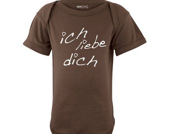 Apericots Ich Liebe Dich (German for I Love You) Infant Valentine's Day Bodysuit