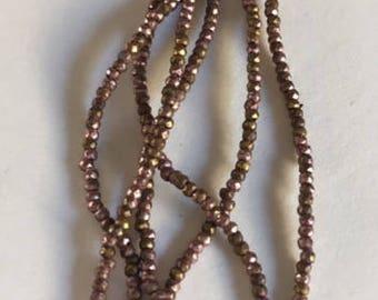 RARE - Antique Metal  Micro Beads - Antique Dusty Rose