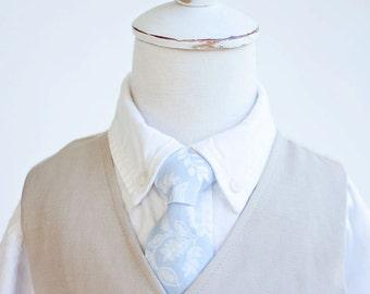 Necktie, Neckties, Boys Tie, Baby Tie, Baby Necktie, Wedding Ties, Ring Bearer, Ties, Rifle Paper Co - PRE-ORDER Queen Anne In Pale Blue