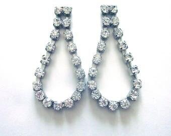 Vintage Rhinestone Dangle Loop Earrings Wedding Jewelry Formal Earrings Post Back