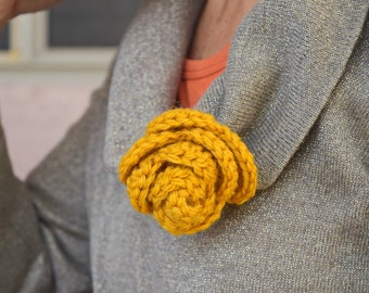 Crochet brooch handmade oatmeal or gold-womans gift-stocking stuffer-small giftables-gift for friend-gift under 10-gift for her