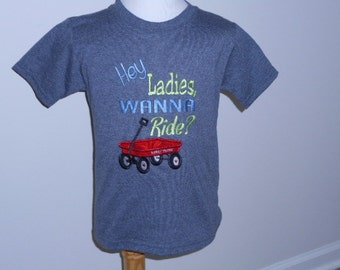 TODAY'S SPECIAL - Hey Ladies, Wanna Ride Applique Shirt - Grey  (Size XS-4/5)