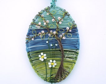 Midsummer wire pendant, ocean scene, seaside necklace, wire painting, wearable art, sea vista, wire tree pendant, nature inspired, sea view
