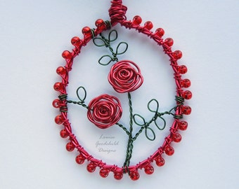 Red Rose pendant, red rose necklace, wire rose pendant, MADE TO ORDER, red rose jewelry, Valentine rose, briar rose, brier rose, red flowers