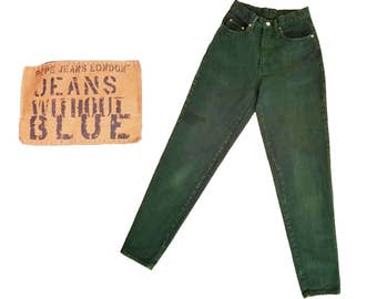 80s Vintage High Waist Jeans Forest Green Jeans Vintage PEPE Jeans 1980s Taper Jeans Slim Fit Jeans 80s Mom Jeans Green Denim Jeans 25 Waist