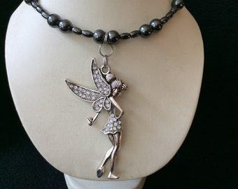 Rhinestone Fairy hand beaded magnetic hematite memory wire choker necklace