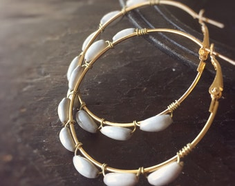 Urban Jungle Gold Hoop Earrings - Wire Wrapped with Job's Tear Beads - Real Amazonian Panyas Seeds