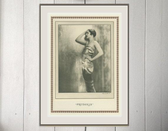 Prudence, Art Deco, Vintage Monochrome Portrait in Photogravure, Fancy Dress, 1926/69,