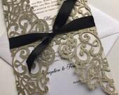 Elegant glitter laser cut invitation package, custom laser cut invitations, Gold and Black laser cut event invitations