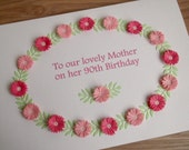 Quilled handmade 60th, 70th, 80th, 90th birthday card, paper quilling, any greeting, any age