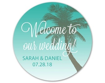 Personalized Wedding Stickers - Custom Favor Labels - Wedding Stickers - Beach Wedding Stickers - Custom Labels - Palm Tree Stickers