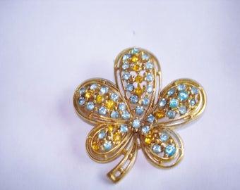 Topaz Blue Rhinestone Flower Brooch Gold Tone