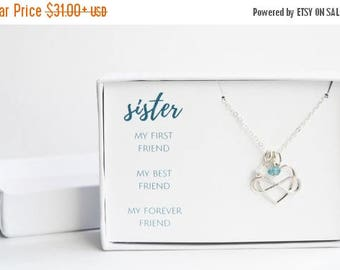 Sister Birthday Gift - Silver Sisters Necklace - Custom Sister Gift - Sister Gift Idea - Sister Birthstone Jewelry - Sister Graduation Gift