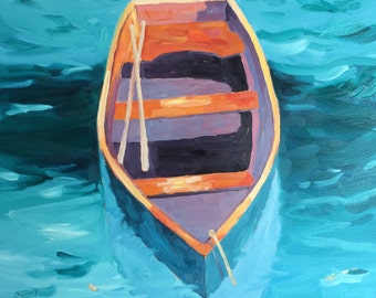Boat, original oil painting. Yvonne Wagner. Row boat. Boat painting. 30 x 40 inch x 1.5 (76 x 102 cm.)  Free Shipping within the USA.