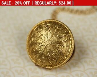 Holiday Sale - Art Nouveau Locket Necklace, Long Round Gold Locket, Perfume Pendant, Long Gold Chain, Floral Locket, Art Nouveau N...