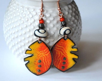 Orange Ethnic Earrings, Artisan Enamel Jewelry, Funky Leaf Earrings, Lampwork Glass Bead Earrings, Yellow Earrings, Large Artisan Earrings