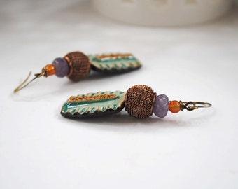 Teal Ceramic Earrings, Artisan Ceramic Earrings, Gypsy Boho Earrings, Amethyst Earrings, Rustic Earthy Earrings