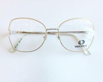 Vintage 1990's Gold and Silver Oversized Valdottica Eyeglasses