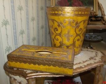 SaLE Hollywood Regency Italian Florentine Waste BAsket Tissue Box