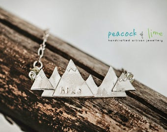 Hike pewter mountain pendant necklace // peridot gemstone & pewter bohemian jewelry //  handmade // limited edition // adventure outdoors