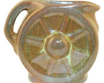 Frankoma Pottery 1940s Wagon Wheel Prairie Green Creamer No. 560