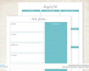 Blue Meal Planner + Grocery List Kit Printable