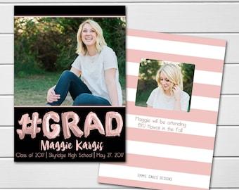 Graduation Announcement, College Graduation Announcement, High School Graduation,  Photo card, Class of 2017, rose gold, balloon letters, #