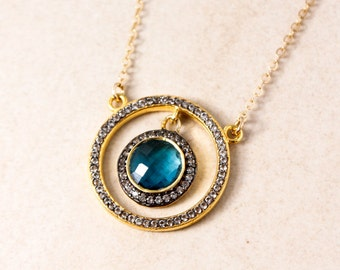 Gold London Blue Quartz Necklace - December Birthstone Necklace - Diamonds, Gold Filled