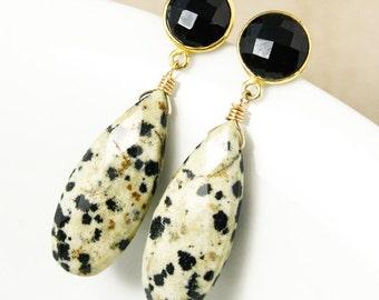 Gold Dalmatian Jasper & Black Onyx Teardrop Earrings - Statement Earrings