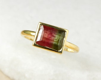 Rerved for M - Emerald Cut Watermelon Tourmaline Ring - Pink Tourmaline, Green Tourmaline - Gold