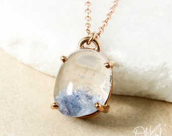 Asymmetrical Oval Blue Dumortierite Pendant Necklace – Rose Gold