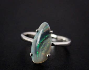 50% OFF SALE - Natural Australian Opal Ring - Free Form - October Birthstone