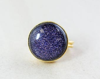 ON SALE Midnight Blue Sunstone Ring - Round Cut - Gold Plated Brass