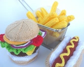 KNITTING PATTERN Hamburger and Hot Dog with Chips