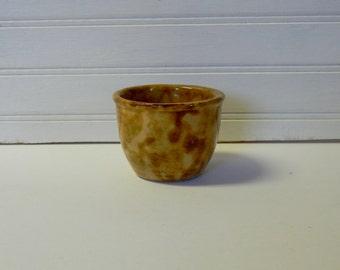 Vintage Spongeware Sponge Ware Yellow Ware Custard Cup