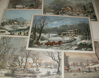 Group of Vintage 1972 Currier and Ives Place Setting mats - Assorted Winter scenes - Crafts Art Decorative Neat Prints