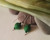 Green Felt Sterling Silver Drop Earrings
