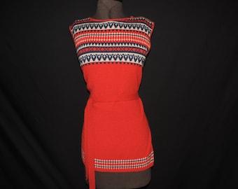 boho 70s sweater red acrylic southwest sleeveless tunic knit striped bodice sweater large