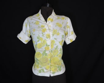 1950's yellow roses blouse white floral novelty print button down top stockton large