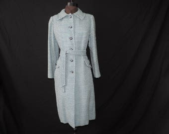 1960s blue tweed coat vintage Gus Mayer wool long jacket large