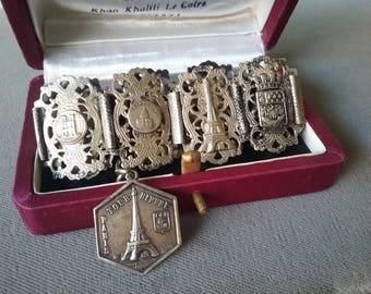 Paris Souvenir Bracelet Art Deco Period Eiffel Tower France Souvenir Collectible Free Shipping To The Usa And Canada
