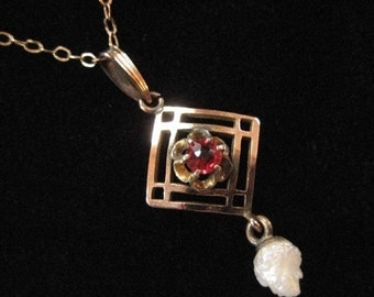 Edwardian Lavalier Pendant with Fresh Water Pearl, Gold Filled