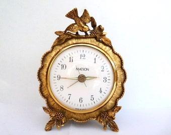 Vintage Matson Gold Gilt Ormolu Bird & Dogwood Blossom Ornate Working Electric Alarm Clock Mid Century