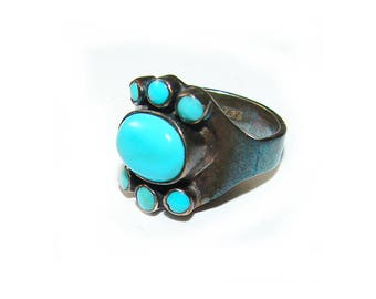 Big Genuine Turquoise Southwestern Native American Bold Ring Sterling Silver Vintage