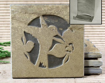 Etched Natural Stone Coaster Set with Holder - Hummingbird on Buff Slate