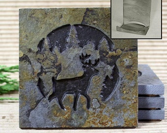 Etched Natural Stone Coaster Set with Holder - Deer in Pine trees on Copper Slate